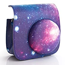 [Fujifilm Instax Mini 8 Mini 9 Case]—Woodmin Exclusive Starry Sky Galaxy PU Leather Protective Fuji Camera Case with Shoulder Strap for Instax Mini 8 Camera (Blue)