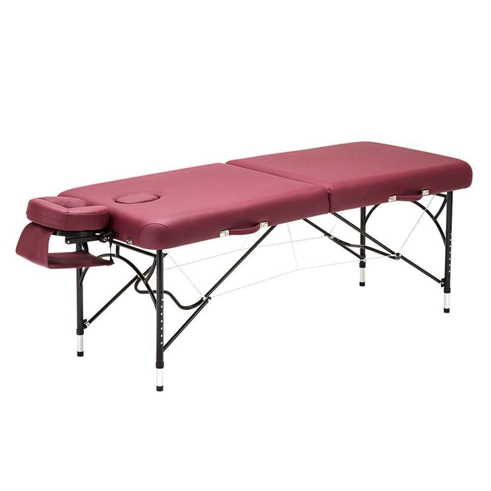 マッサージベッド、ポータブル折りたたみベッドホームビューティー理学療法ベッドアルミフレームベッド脚マッサージテーブル(色:ライトタン),ワインレッド