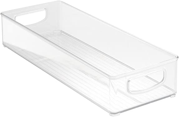 """'InterDesign Home Kitchen Organizer Bin for Pantry, Refrigerator, Freezer & Storage Cabinet 16"""" x 6"""" x 3"""", Clear' from the web at 'https://images-na.ssl-images-amazon.com/images/I/51A+kfG7MoL._AC_SY375_.jpg'"""