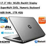 Flagship Model HP 17.3 High Performance HD+ WLED-Backlit Laptop, Intel Core i3-5005U, 6GB RAM, 1TB HDD, Windows 10