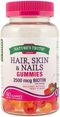 Nature's Truth Hair, Skin, Nails Natural Fruit Flavored Gummies, 80 Count