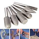 OriGlam 6PCs 6mm Rotary File Burr Cutter, Engraving Grinding Drill Bit Kits, Shank Cylinder Tungsten Steel Rotary File Cutter, Double Cut Engraving Grinding Bit Set for Rotary Tools