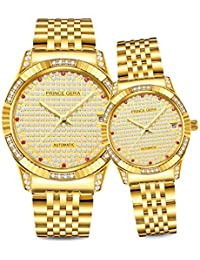 18K Gold Plated Couple/Lovers Watches Calendar Date Automatic Mechanical Luxury Analog Waterproof Wrist Watches