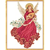 Entertaining with Caspari Angel With Lute Christmas Cards, Box of 16