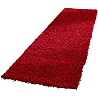 Tache Red Shag Runner Rug - Raspberry - Solid Dark Red Rectangular Cotton Chenille Absorbent All Area Hallway Floor Doormat Bathroom Kitchen Mat - 2.5 x 8 Feet - 31 X 96 Inch