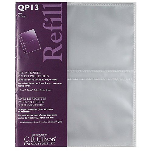 CR Gibson- QP-13 Deluxe Binder pocket page refills, 20 pocket sheet( holds 40 recipe cards)