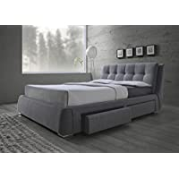 Coaster Fenbrook Collection 300523Q Queen Size Upholstered Bed with Storage Drawers Pillow Top Headboard Biscuit Tufting Chrome Legs and Fabric Upholstery in Grey