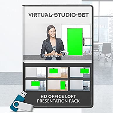 Virtual Studio Set: Office Loft Presentation Pack for Green Screen Productions