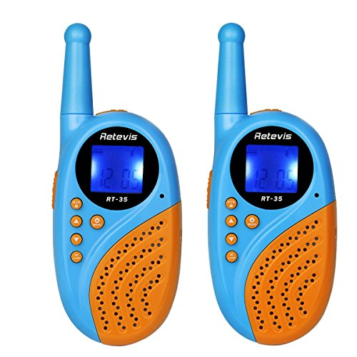Amazon #LightningDeal 86% claimed: Retevis RT-35 UHF1W/0.5W 462.5625-467.7250Mhz Kids Walkie Talkies with FRS/GMRS 22 Channels Digital Clock Alarm Clock USB Charge VOX Function Two Way Radio(Blue, 1 Pair)