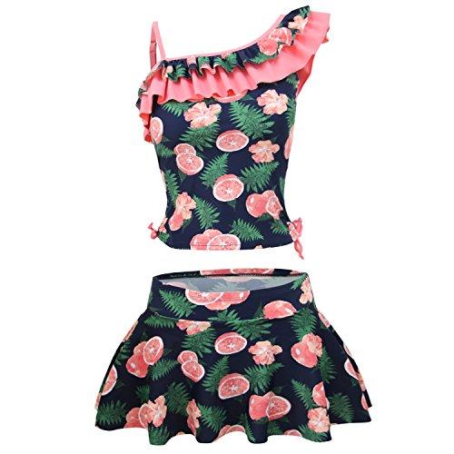 KALAWALK Girls Bright Lemon Double Ruffle One Shoulder Adjustable Swimwear Fashionable Two Piece Tankini (Water Melon red, XL(14):12-14y)