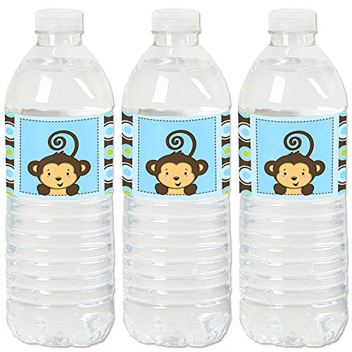 Blue Monkey Boy - Baby Shower or Birthday Party Water Bottle Sticker Labels - Set of 20 ()