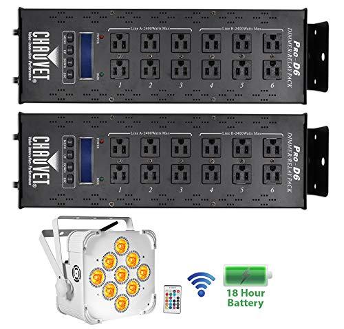 (2) Chauvet PRO-D6 Dimmer Switch Pack 115V/230V+White Wireless Battery Par Light