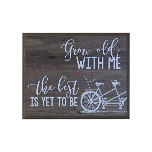 Grow Old With Me the best is yet to be Anniversary Gift for husband wife Parents,best friend, Christian gift ideas 12 Inches Wide X 15 Inches High Wall Plaque By Dayspring Milestones (salt oak)