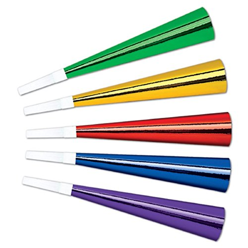 Club Pack of 100 Bright Multi-Colored New Year's Eve Foil Trumpet Horn Party Favors (Foil Horns)