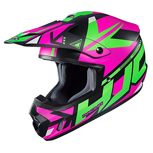 HJC CS-MX II Madax Off Road Motorcycle Helmet (MC-84SF Pink/Green/Black, Small)