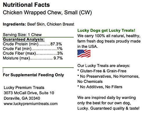 Lucky Premium Treats Healthy Chicken Wrapped Rawhide Dog Treats, All Natural Gluten Free Dog Treats for Small Dogs, 100 Chews by Lucky Premium Treats (Image #4)