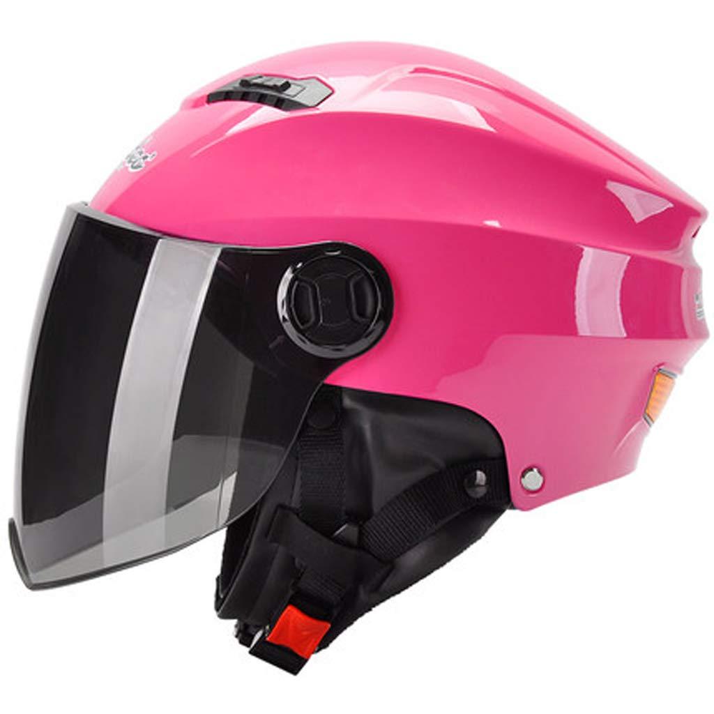 Colore : Pink, Dimensioni : 54cm-60cm JBHURF Caldo Casco Invernale da Donna con Casco da Moto