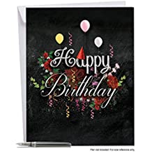 """J6479CBDG Jumbo Birthday Greeting Card: Chalk and Roses - Birthday, Featuring Happy Birthday Sentiments on Chalkboard with Party Mofifs and Flowers, With Envelope (Extra Large Size: 8.5"""" x 11"""")"""