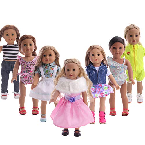 Luckdoll Lot 14 Items 7 Sets Fashion Doll's Clothes Outfits Handmade Party Dress with Accessory for 18 Inch American Girl Dolls Festival Birthday Gift