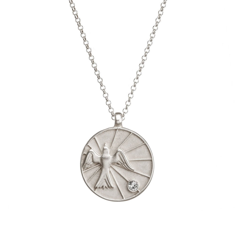 Dogeared Maya Angelou Peace my brother. dove stone, Sterling 18''-20'' Necklace