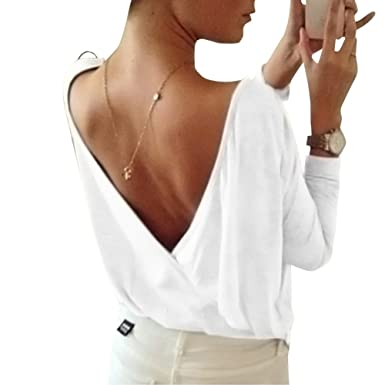 discount shop special for shoe later Tee Shirt Femme Manches Longues Casual Profond V Dos-Nu Rond Col T-Shirt  Haut Blouse Top Jumper
