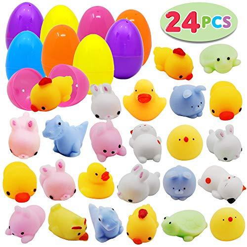 JOYIN 24Pcs Mochi Squishy Toys Prefilled Easter Eggs Kawaii Foamy Stress Reliever Squishies for Easter Theme Party Favor, Easter Filled Eggs Hunt, Basket Filler, Classroom Prize Supplies