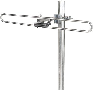 NEDIS Dab + Antena al Aire Libre Antena Dab Exterior | Ganancia máxima de 4 dB | Dab: 170-250 MHz Plata/Negro 670 mm