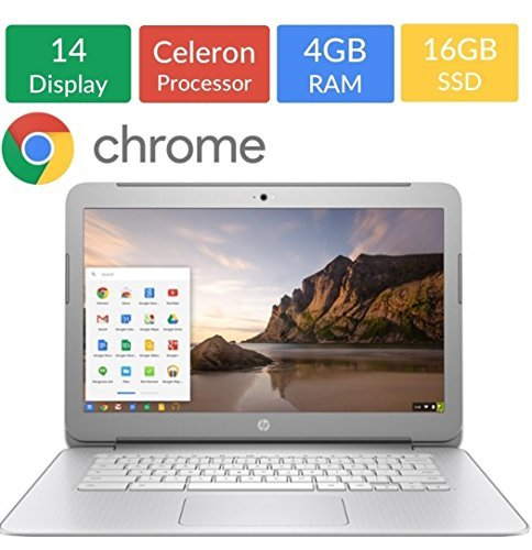 HP 14-inch Chromebook HD SVA (1366 x 768) Display, Intel Dual Core Celeron N2840 2.16GHz, 4GB DD3L RAM, 16GB eMMc Hard Drive, Stereo speakers, HD Webcam, Google Chrome OS (Certified Refurbished) ()