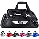 Elite Sports Boxing Gym Duffle Bag for MMA, BJJ, Jiu Jitsu Gear, Duffel Athletic Gym Backpack with Shoes Compartment (Black, Medium)