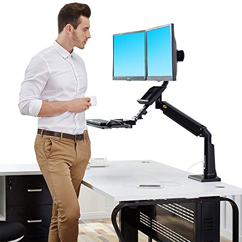 dual monitor sit stand desk