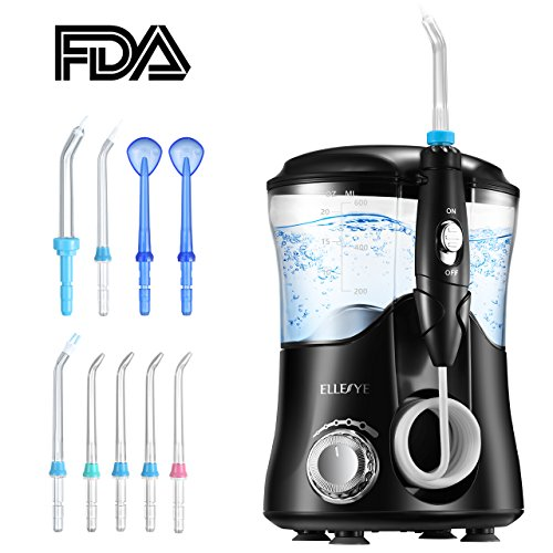 Water Flosser, ELLESYE FDA Approved 600ml Capacity Dental Oral Irrigator with 9 Multifunctional Jet Tips for Family Use, Leak-Proof Quiet Design (50db) Dental Flosser, 10 Stepless Pressure Settings (Irrigator Adult)
