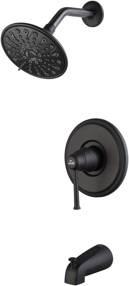 Matte Black Shower faucet with tub spout, Touch-Clean 6-spray Shower Head, Bathroom Shower Combo System Trim Kit Set with rough-in valve