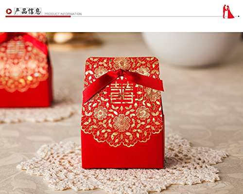 Joinwin® 50 pcs Double Happiness Design Chinese Red Candy Box, Classical Wedding Candy Boxes, Wedding Favor Gift Box With (Happiness Wedding Favor)