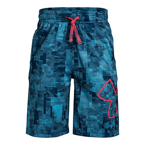 Under Armour Boys' Renegade 2.0 Printed Shorts, Ether Blue (452)/Red Rage, Youth Large