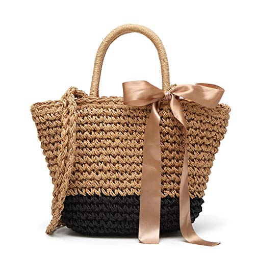 Round Straw Shoulder Bag for Women, Weave Crossbody Bag Top Handle Handbag Summer Beach Purse (Black)