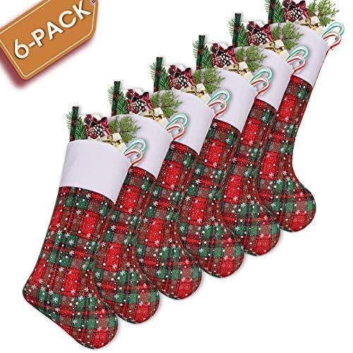 LimBridge 6 Pack 18 Plaid Snowflake Print Christmas Stockings, Xmas Holiday Home Decorations