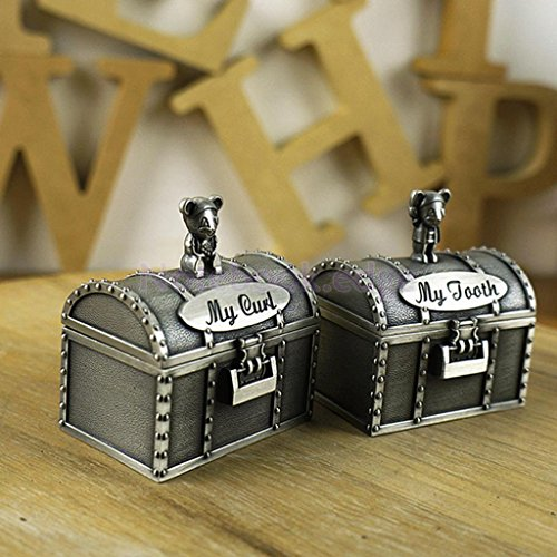 Treasure Chest Silver My First Tooth & Curl Trinket Box Set Keepsake Boy Girl Baby Shower - Trinket Curl