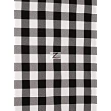 """CHECKERED GINGHAM 100% POLYESTER POPLIN FABRIC - Black - 57""""/59"""" WIDTH SOLD BY THE YARD"""