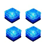 KINGCOO 4 Pack Solar Path Ice Cube Lights Outdoor, Waterproof Glass LED Glass Clear Brick In-groud Buried Festive Light Night Lamp for Garden Courtyard Pathway Patio Pool Pond Decoration (Blue)