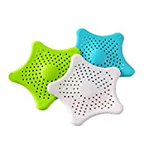 3Pcs/set Star Shape Household Sink Strainer Silicone Hair Catcher Shower Drain Cover Blue/White/Green(New Version)