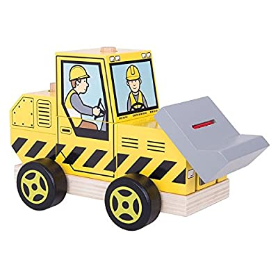 Bigjigs Toys Wooden Stacking Bulldozer Toy: Toys & Games