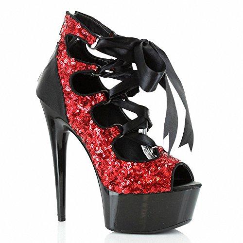 Ellie 609-lila Donna Sexy Comoda 6 Glitter Open Toe Lace Up Rosso