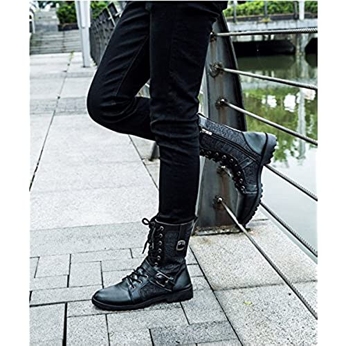 a888f93a338 Men's Fashion Lace-up Motorcycle Boots Vintage High Top Punk Martin ...