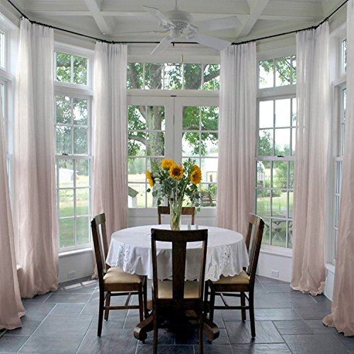 ChadMade Indoor Outdoor Gradient Ombre Sheer Curtain Pinch Pleat Taupe 52