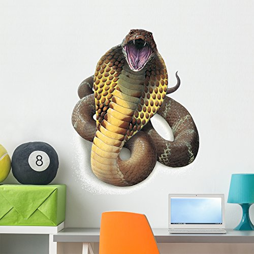 Wallmonkeys King Cobra Snake Wall Decal by Peel and Stick Graphic (36 in H x 29 in W) - Snake Decals Wall