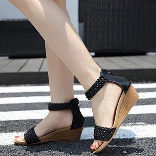 Talons Sandales Chunky Open Zipper Hauts Femmes Noir Forme Wedges Bohème Casual Plate Ankle Sandales Toe Strap à ggq64w7