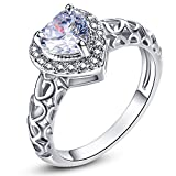 Psiroy 925 Sterling Silver 6mm Chic Heart Cut White Topaz Halo Filled Ring for Women