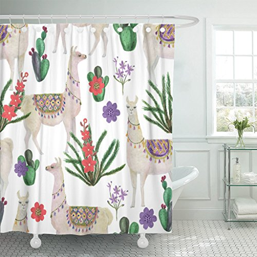 Emvency Shower Curtain Peru Watercolor Painting with Llamas and Cacti Alpaca America Waterproof Polyester Fabric 72 x 72 inches Set with Hooks by Emvency