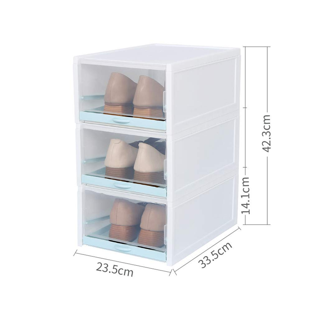 Loneflash 3PCS Push Drawer Type Shoes Box Shoes Organizer Foldable Stackable Shoes Containers Drawer Transparent Plastic Shoe 13.19/×9.25/×16.73