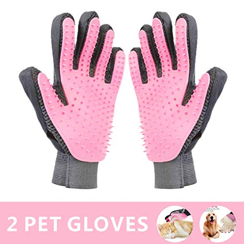 TEKEMP Pet Grooming Glove Deshedding Brush Gloves for Dogs Cats – Pet Hair Remover Gloves for Long & Short Fur & Cat with Long & Short Fur-1 Pair